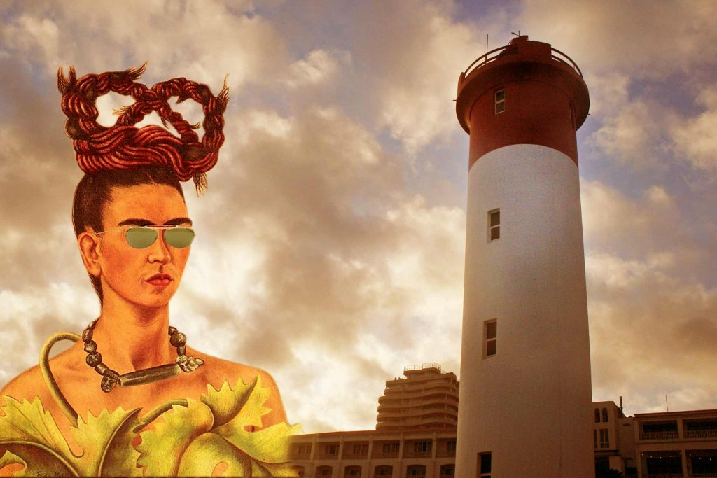 Frida Kahlo in an Umhlanga flavoured photomontage/